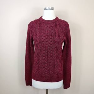 Uniqlo Cable Knit Red Sweater